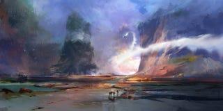 Helle gemalte fantastische Landschaft der Zukunft stock abbildung