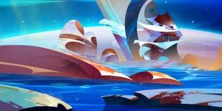 Helle gemalte fantastische Landschaft des Planeten Vektor Abbildung
