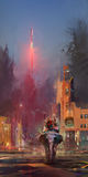 Helle gemalte zukünftige Landschaft mit einem Elefanten und einer Rakete lizenzfreie abbildung