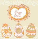 Helle glückliche Ostern-Karte im Vektor Ostereier in der netten Karikaturart Lizenzfreie Stockfotografie