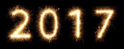 helle glühende neue Jahre 2017 der Feuerwerkswunderkerze Lizenzfreie Stockfotos