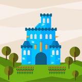 Helle grafische Illustration mit Karikaturblau färbte Schloss für Gebrauch im Design für Karte, Einladung, bunner, Plakat oder Pl vektor abbildung