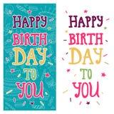 Helle Grußkarte mit Text alles Gute zum Geburtstag auf den blauen und weißen Hintergründen Parteieinladung, Hand gezeichnete Art Lizenzfreies Stockbild