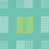 Helle Handgezogene einzelne Gekritzelquadrate von verschiedenen Formen Geometrisches nahtloses Muster auf Türkisgitter gemasert stock abbildung
