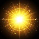 Helle hochwertige Goldschablone für neues Jahr und Weihnachten Entwarf, einen auffallenden Effekt des Sonnenlichts einzustellen A Lizenzfreie Stockfotos