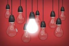 helle Ideenbirneninnovation kreativ Stock Abbildung