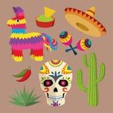 Helle Ikone Mexikos stellte mit nationalen mexikanischen Gegenständen ein: Sombrero, Schädel, Agave, Kaktus, Pinata, Jalapeno pfe Stockfoto