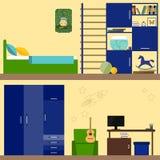 Helle Illustration in der modischen flachen Art mit Kinderrauminnenraum für Gebrauch im Design für für Karte, Einladung, Plakat,  Stockfotografie