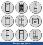 Helle Kühlschrankikonen Lizenzfreies Stockbild