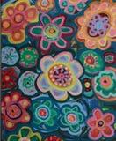 Helle künstlerische Blumen-Muster Stockfotos