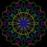 Helle Kaleidoskopartmehrfarbenillustration auf einem schwarzen Hintergrund lizenzfreie stockfotos