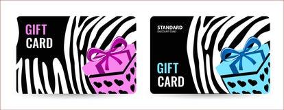 Helle Karte mit Schwarzweiss-Streifen und rosa Kasten Kreative Geschenkkarte lizenzfreie abbildung