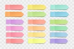 helle klebrige Anmerkungen, Satz Aufkleber mit Schatten auf einem transparenten Hintergrund Mehrfarbenpapierklebstreifen Vektor Abbildung