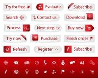 Helle Knöpfe mit roten Bookmarks und Ikonen Lizenzfreie Stockbilder