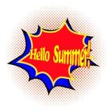 Helle komische Explosion mit Texthallo Sommer auf einem Hintergrund des Halbtons Vektorillustration mit grellem und dem Beschrift vektor abbildung