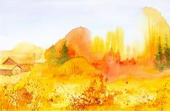 Helle ländliche Landschaft im russischen Dorf Aquarellillustration des goldenen Herbstes lizenzfreie abbildung