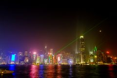 Helle Leistungsshow von den Wolkenkratzern in Hong Kong Lizenzfreies Stockbild
