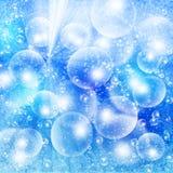 Helle Luftblasen auf einem blauen grunge stock abbildung
