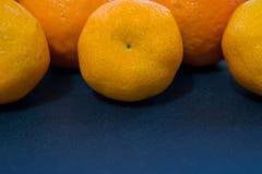 Helle Mandarinen liegen harmonisch auf einem dunkelblauen Hintergrund lizenzfreie stockfotografie