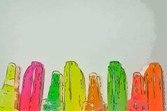 Helle Markierungen und Rohre der Farbe auf einem hellen Hintergrund stockfotografie