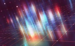 Helle Neonblitze auf einem technologischen Hintergrund vektor abbildung
