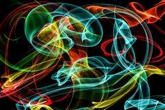 Helle Neonlinien über schwarzem Hintergrund Lizenzfreie Stockfotografie