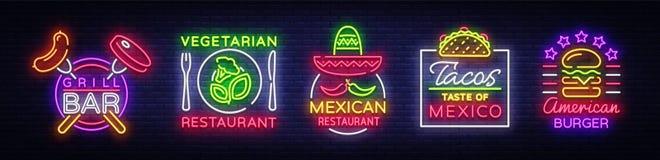 Helle Neonsymbole für Lebensmittel Sammlungs-Gestaltungselemente, Leuchtreklamen für Lebensmittel, Grill-Bar, vegetarisches Leben vektor abbildung