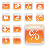 Helle orange Einkaufen-Tasten Stockfoto