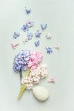 Helle Pastell-Ostern-Grußkarte mit Hyazinthenblumen und -ei lizenzfreie stockfotos