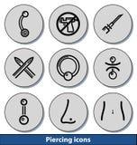 Helle piercing Ikonen Lizenzfreie Stockbilder