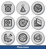 Helle Pizzaikonen Lizenzfreie Stockbilder