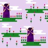 Helle purpurrote Windmühle und Tulpen der Karikatur auf nahtlosem Musterhintergrund der weichen lila Abdeckung Stockfotos