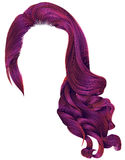 Helle rosa Farben der modischen langen Perücke der gelockten Haare der Frau Retro- styl vektor abbildung