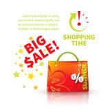 Helle rote Einkaufstasche Stockfoto