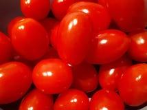 Helle rote Kirschtomaten auf einem schwarzen Hintergrund stockfotografie