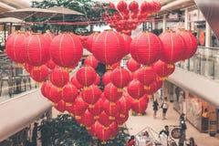 Helle rote Laternen des traditionellen Chinesen, Bali-Insel Lizenzfreies Stockbild