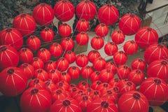 Helle rote Laternen des traditionellen Chinesen, Bali-Insel Lizenzfreie Stockfotografie
