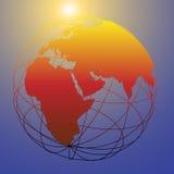 Helle Sonne der globalen wireframe östlichen Erde-Kugel Lizenzfreie Stockfotos