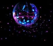 Helle Stellen des bunten Discospiegelballs stockbild