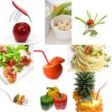Helle Stimmung der organischen vegetarischen Lebensmittel-Collage des strengen Vegetariers Lizenzfreies Stockbild