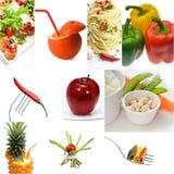 Helle Stimmung der organischen vegetarischen Lebensmittel-Collage des strengen Vegetariers Lizenzfreie Stockbilder