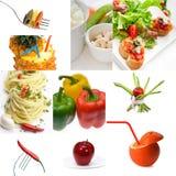Helle Stimmung der organischen vegetarischen Lebensmittel-Collage des strengen Vegetariers Stockfotos