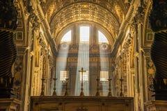 Helle Strahln-St. Peter Rome Stockfoto