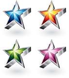 Helle vektorsterne in vier Farben Stockfoto