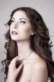 Helle Verfassung des blauen Auges, schönes Frauenportrait lizenzfreies stockfoto