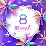 Helle Violet Holographic Flowers Der Tag der glücklichen Frauen International am 8. März Sohn gibt der Mama eine Blume Modernes P stock abbildung