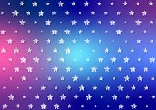 Helle weiße Sternchen-Vereinbarung im glänzenden blauen und roten Hintergrund lizenzfreie abbildung