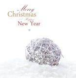 Helle Weihnachtszusammensetzung mit Dekorationen und Schnee (mit EA Lizenzfreies Stockbild