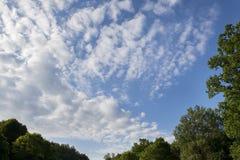 Helle Wolken in einem blauen Sommerhimmel Stockfotografie
