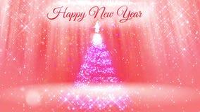 Helle Zusammensetzung für Hintergrund des neuen Jahres mit 3d Weihnachtsbaum von den Funkelnpartikeln und -scheinen Mit Strahlen  stock footage